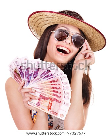 Woman with  money Russian rouble. - stock photo