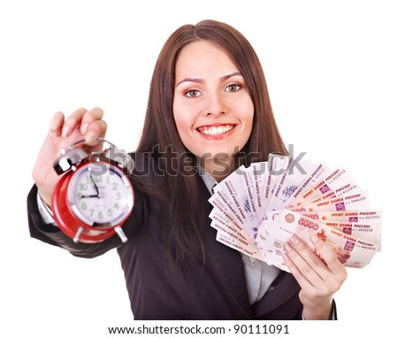 Woman with  money .Russian rouble and alarm. Isolated. - stock photo