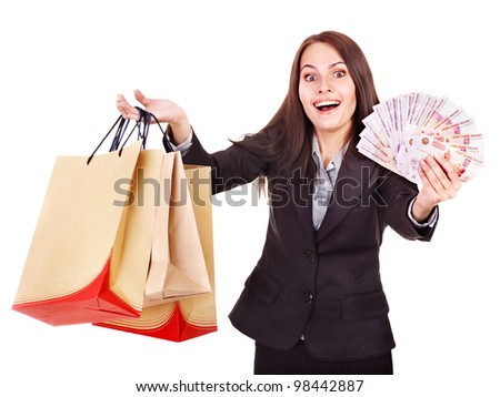 Woman with  money Russian rouble and shopping bag. Isolated. - stock photo