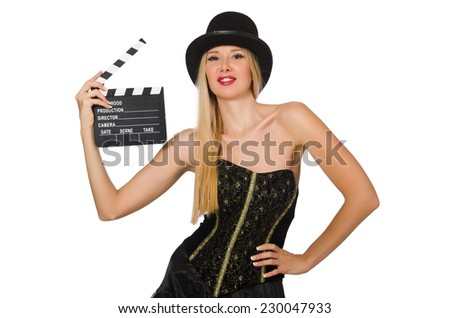 Woman with movie clapboard isolated on white - stock photo