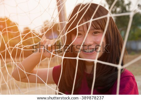 Woman with net beautiful on sunny summer - stock photo