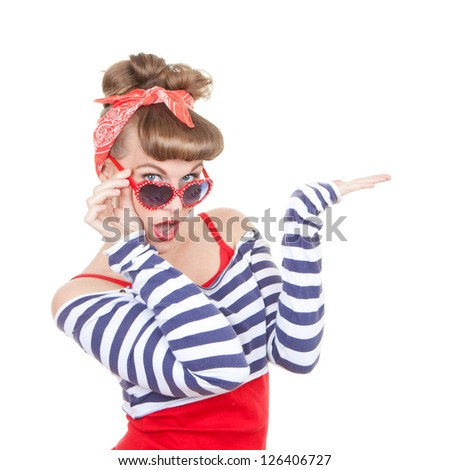 woman with open hand for product placement - stock photo
