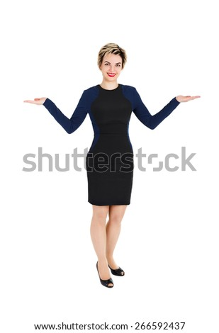 Woman with open hands isolated on white - stock photo