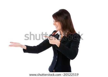 woman with open palm up and pointing it with a finger - stock photo