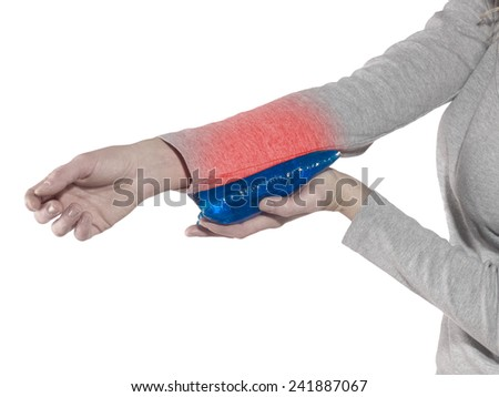 Woman with pain in elbow  - stock photo