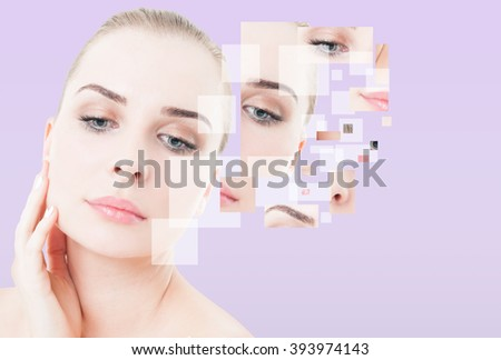 Woman with perfect skin and make up and different face parts as creative beauty concept - stock photo