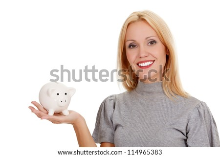 woman with piggy bank, isolated on white - stock photo