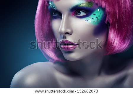 woman with pink hair and pink lips - stock photo