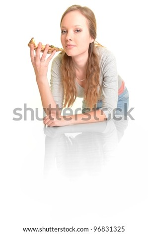 woman with pizza isolated on white - stock photo