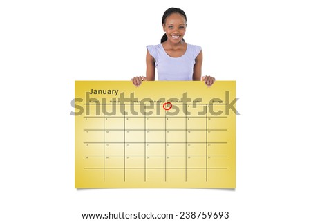 Woman with placeholder in her hands on white background against january calendar - stock photo