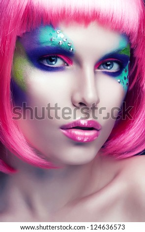 woman with purple lips and hair - stock photo