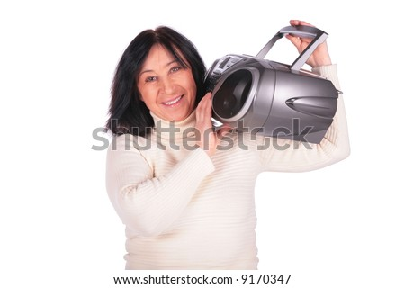 Woman with radio - stock photo