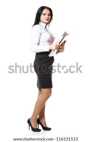 woman with red folder for documents on white background - stock photo