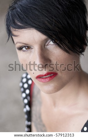 Woman with red lipstick - stock photo
