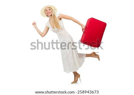 Woman with red suitcase isolated on white - stock photo