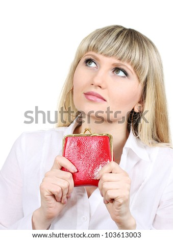 Woman with red wallet isoleted on white - stock photo