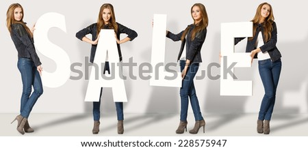 Woman with Sale letters - stock photo