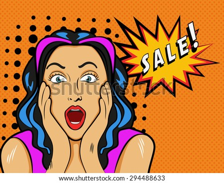 Woman with Sale sign. Illustration in pop art style. - stock photo