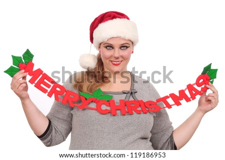 Woman with Santa hat and is ready for Christmas - stock photo