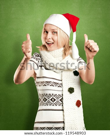 Woman with Santa's hat waiting for Christmas - stock photo
