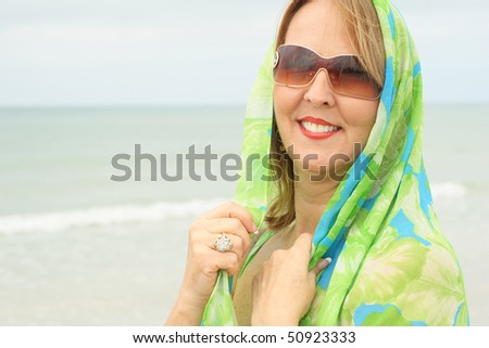 woman with scarf wrap - stock photo