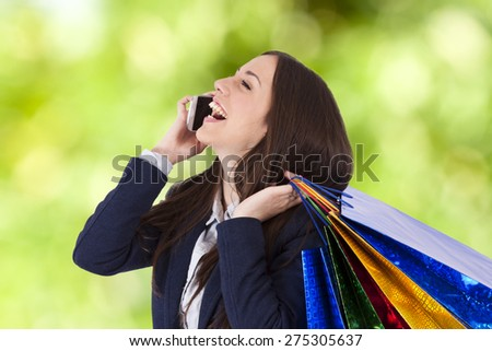 woman with shopping bags, lifestyle - stock photo