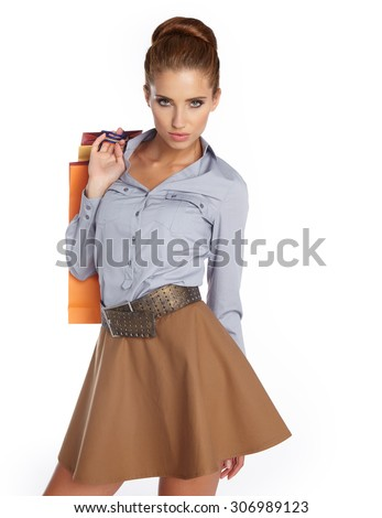 woman with shopping bags. Studio shoot - stock photo