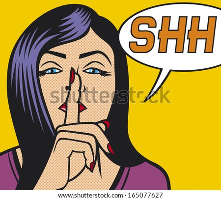 woman with silence sign pop art illustration  - stock photo