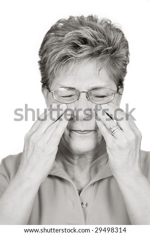 Woman with sinus pain or the flu - stock photo