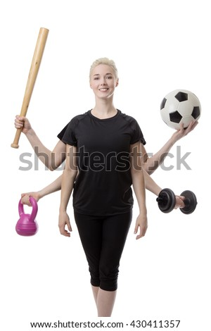woman with six arms holding different sports items - stock photo