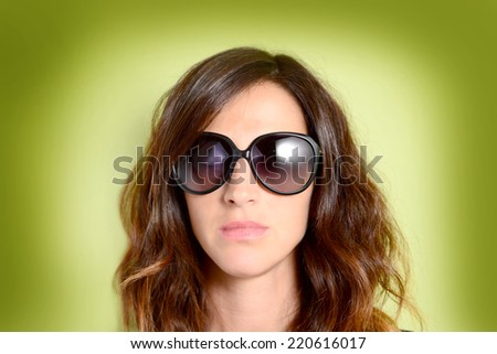 woman with sunglasses - stock photo