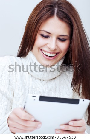 woman with tablet computer. toned - stock photo