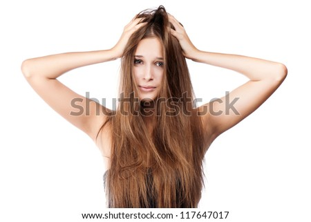 woman with tangled hair. isolated - stock photo