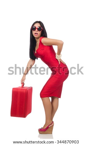 Woman with too heavy backpack - stock photo