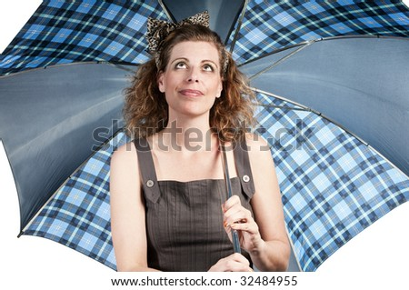 Woman with umbrella on white background - stock photo