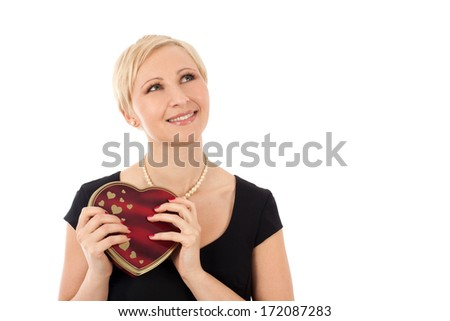 Woman with valentine's gift isolated on white - stock photo