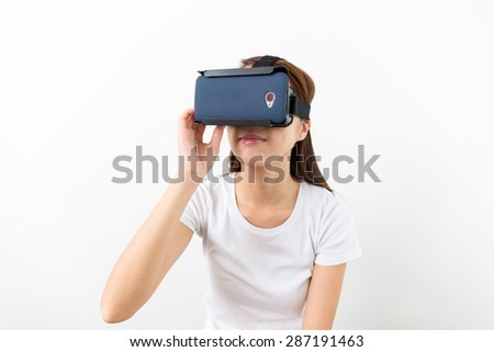 Woman with VR headset - stock photo