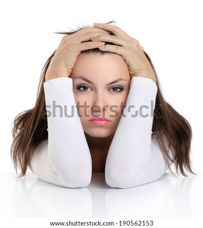 woman with worried expression face - stock photo