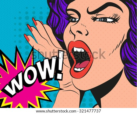 Woman with wow sign. Illustration in pop art style. - stock photo