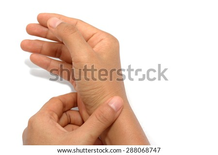 Woman with wrist complaints on white background - stock photo