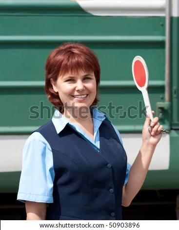 Woman worker railroad. Train. - stock photo