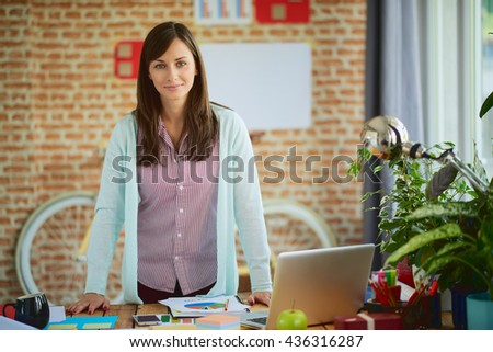 Woman Working at modern home office. - stock photo