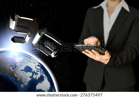 woman working in tablet computer using standard network 5g on the background of sunrise over the planet Earth 5g - stock photo
