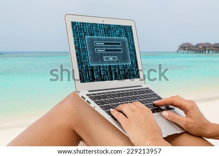 Woman working on a computer at the beach. Log in page. Matrix.  - stock photo