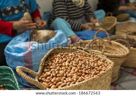 Woman working on argan oil factory in Morocco - stock photo