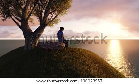 woman working on laptop on a mountain top - stock photo