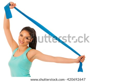 Woman working out with band in fitness gym isolated over white - stock photo