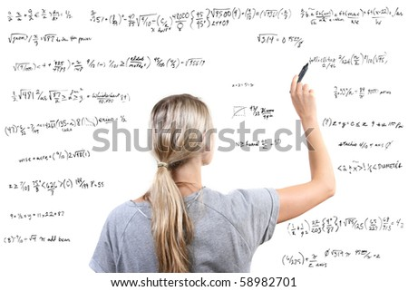 woman writing mathematical equations on white background - stock photo