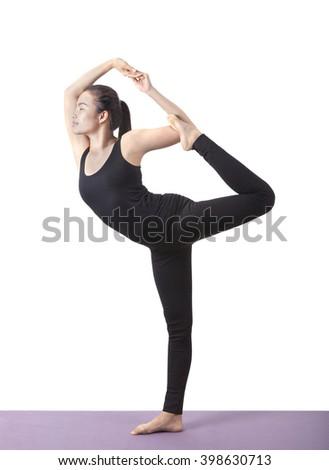 woman yoga exercise - stock photo