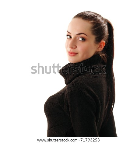 woman young attractive isolated on white background - stock photo